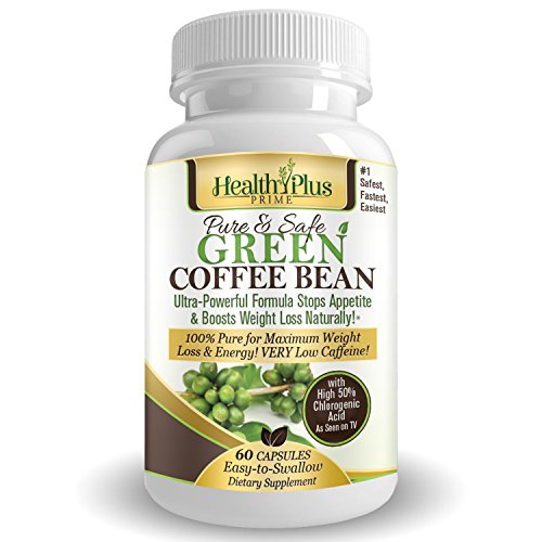 Health Plus Prime Green Coffee Bean Extract 100% Pure & Natural 800mg Serving @ 50% Chlorogenic Acid For Maximum And Healthy Weight Loss! (Pure Green Bean Coffee compare prices)