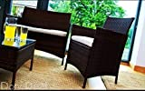 4 Pieces 4 SEATER RATTAN GARDEN FURNITURE SET 2 CHAIRS 1 SOFA 1 TABLE OUTDOOR PATIO CONSERVATORY