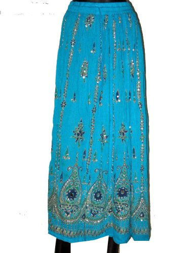 Womens Long Skirts- Stunning Turquoise Women's Skirt Beaded Dcrapechic Chic Bohemian Style