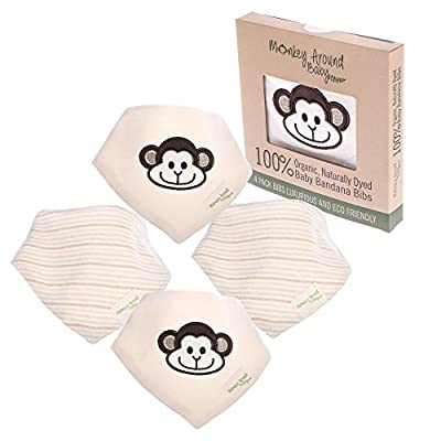 Super Soft 100% Organic Natural Cotton 'Monkey Around Baby' Bandana Drool Bibs with Snaps for Girl or Boy - Reversible Set of 4 - Premium Unisex Baby Shower Gift Set - Handkerchief Baby Bib Bandanas