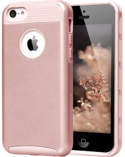 iPhone 5C Cases, BENTOBEN Slim Fit Dual Layer iPhone 5C Case Hybrid Hard Plastic Shell and Soft TPU Shockproof Protective Cover for iPhone 5C, Rose Gold (Protective Pink Iphone 5c Case compare prices)