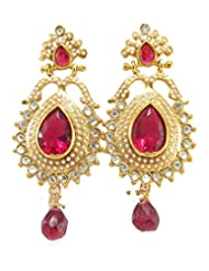 Aria Party Wear Ruby Pearl CZ Gold Plated Drop & Dangle Earring Re7