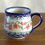 ポーリッシュポタリー (ポーランド食器) マグ マグカップ S コーヒーカップ 桃色の花柄 200ml K67-ALC19