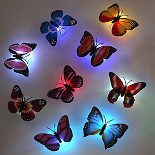 Colorful Butterfly LED Night Light Luminous Suction Decoration Light