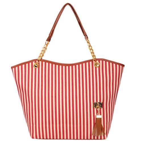 amshop AutoM New Fashion Stripe Design Women Street Snap Candid Tote Single Shoulder Canvas Bag Handbag Picture