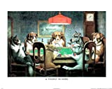 Dogs Play Poker at Table Art Print Framed Poster Friend Need - 16