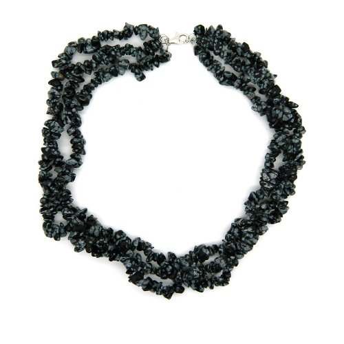 Sterling Silver Snowflake Chips Bead Necklace 18-inches