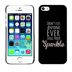 Omega Covers - Snap on Hard Back Case Cover Shell FOR Apple iPhone 5 / 5S - Dull Sparkle Black Motivational Inspirational