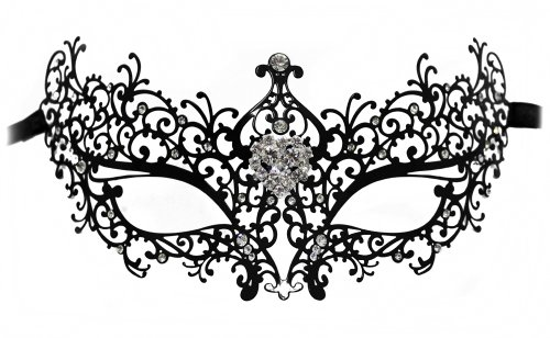 Dorian Laser-Cut Metal Black Venetian Masquerade Mask for Women