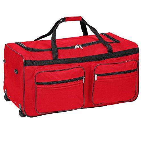 TecTake Trolley borsa da viaggio XXL borsone sportivo | due ruote | 160 litri | manico telescopico | rosso