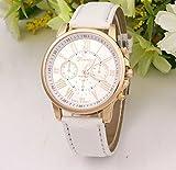 選べる 5 色 おしゃれ 腕時計 ウォッチ ユニセックス メンズ レディース かっこいい かわいい スーツ に 似合う (ホワイト)