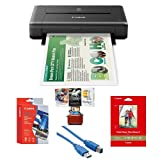 Canon PIXMA iP110 Wireless Mobile Inkjet Color Photo Printer - Bundle with Mac Software Package, Glossy Photo Paper (5x7in), 20 Sheets, Matte Photo Paper (4x6in), 20 Sheets, USB Cable 6'