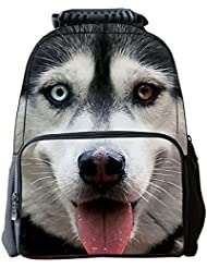 AUBIG Boys Girls 3D Animals Print Daypack Backpack School Bag Multicolor - White Husky