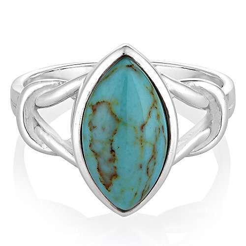 925 Sterling Silver Blue Turquoise Gemstone Marquise Shape Knot Band Ring Jewelry Size 7 (Silver Turquoise Ring compare prices)