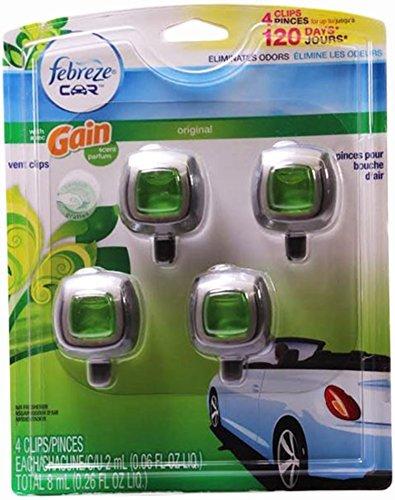 Febreze Car Vent-clip Air Freshener, Gain Original, 4 Count (Clip Air Freshener compare prices)