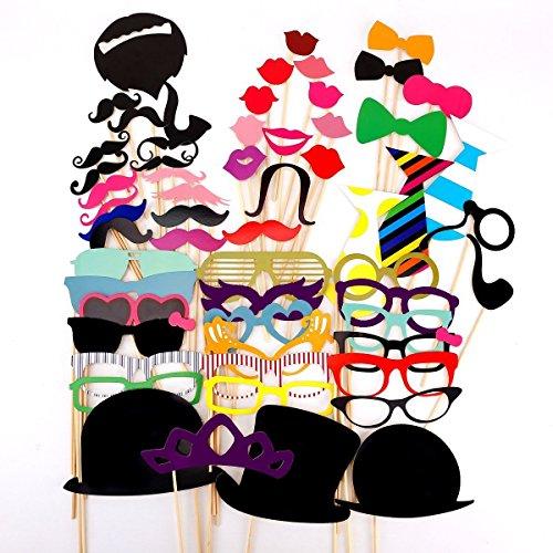 KIMILAR 58pcs moustache lèvre lunettes loup masque avec baton pour Masquerade