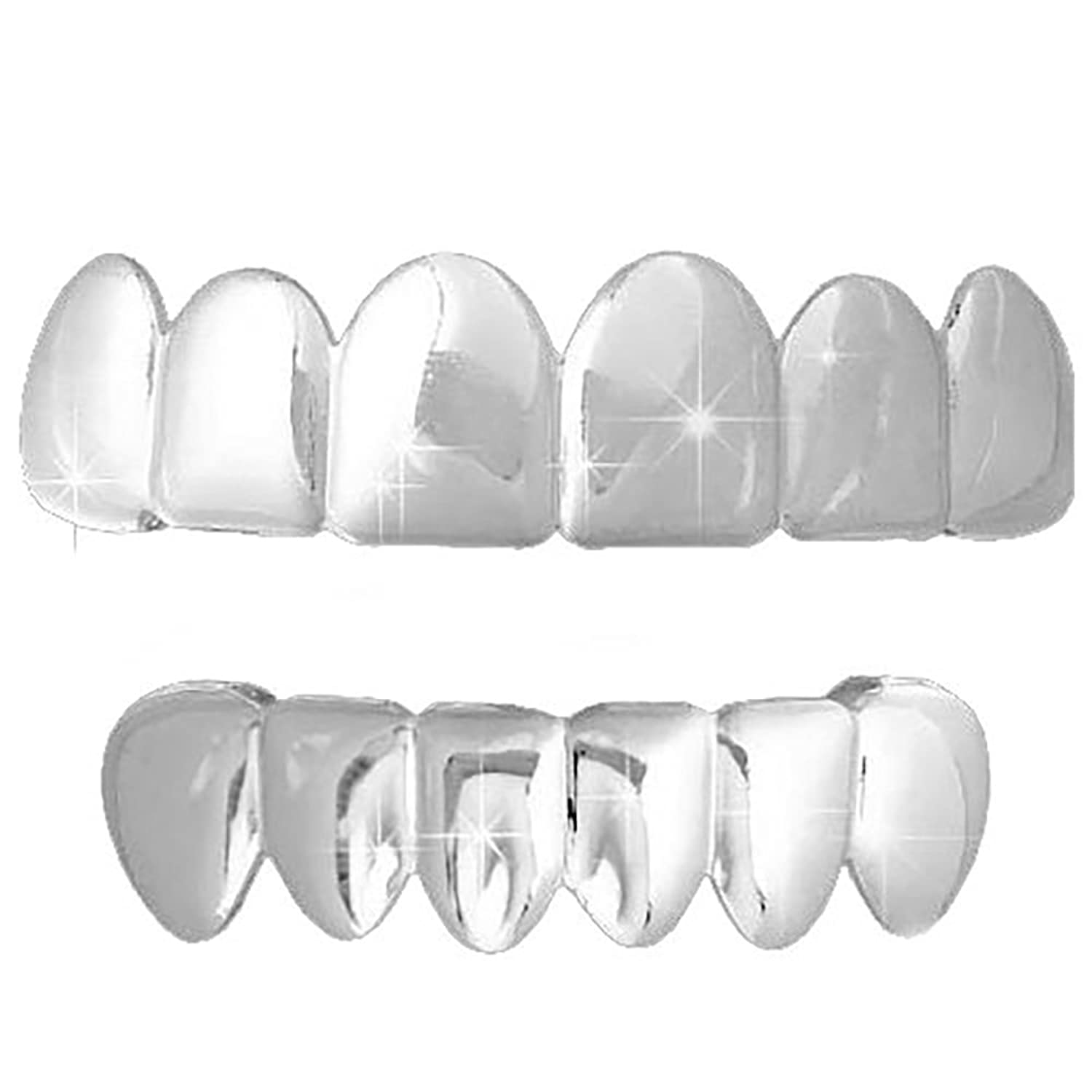 Silver Grillz Top And Bottom Grillz Set Top Bottom