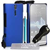 Yousave Accessories TM Sony Ericsson Xperia S LT26i Accessoire Paquet Bleu Dur Hybride Dos Etui Coque Avec Stylet Stylo Pen, Chargeur De Voiture, Ecran Protecteur Film Et Tissu de Polissage Micro Fibrepar Yousave Accessories