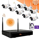 CORSEE Home Business Wireless Video Security Camera System, with 8 PCS of 960P HD Waterproof Outdoor Indoor WiFi Bullet IP Cameras and 1 PC of 8-Chnnel Wireless NVR Kit with 1 TB HDD