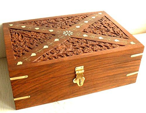 Huile essentielle sculpté en bois dur Boîte de rangement (24bouteilles)