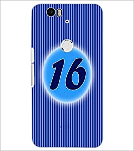 PrintDhaba Numerology Number 16 D-2572 Back Case Cover for HUAWEI NEXUS 6P (Multi-Coloured)
