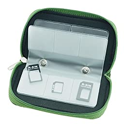 GGS Universal Memory Card Storage Carrying Case (8 Pages, 22 Card Compartments) Green