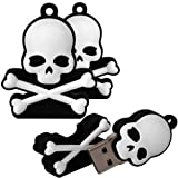 Shop4 8GB Black / White Skull and Crossbones Shape Novelty USB Data Memory Stick Storage Device with Key Chain