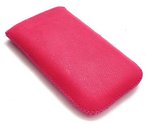 Emartbuy Hot Pink Textured Pu-Leder-Tasche / Case / Sleeve / Halter (Klein) Mit Pull Tab Mechanismus F&#252;r Sony Ericsson Vivaz Pro