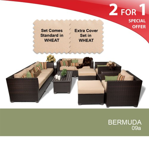 Bahama 9 Piece Outdoor Wicker Patio Furniture Set Wheat 09a 2 Yr Fade Warranty Holiday Deals Hoangnam0841
