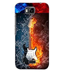 ColourCraft Water and Fire Guitar Design Back Case Cover for HUAWEI HONOR BEE
