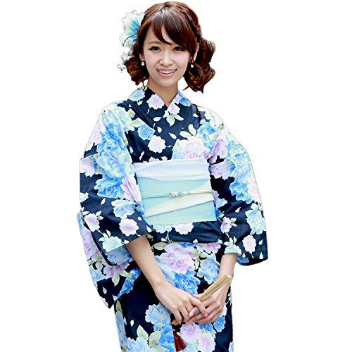 浴衣 女 セット「濃紺地に牡丹と八重桜」【平帯タイプ】 「なでしこ」ときめき恋浴衣3点セット -