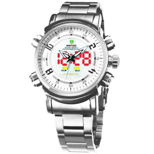 Weide Analog-Digital White Dials & Band Men Watch With Black Numbers