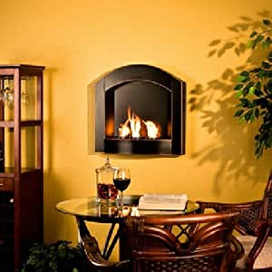 Arch Top Wall Mount Fireplace Beautiful Sleek Black Contemporary Style Fireglo Gel Fuel Or