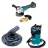 Makita XAG04Z 18V LXT Brushless Cordless 4-1/2-Inch - 5-Inch Cut-Off/Angle Grinder (Tool Only), 195236-5 Surface Grinding Shroud, VC4710 12-Gallon Xtract Vac Wet/Dry Dust Extractor/Vacuum