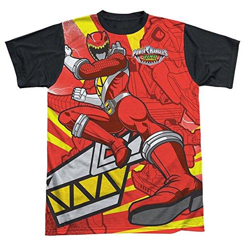 Power Rangers Red Ranger Kick All Over Black Back T-Shirt