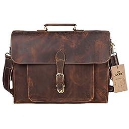 S-ZONE Vintage Business Genuine Leather Messenger Briefcase shoulder laptop bag