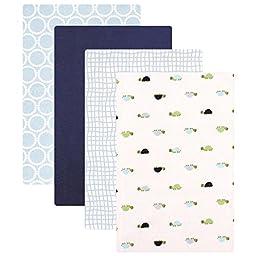 Luvable Friends Flannel 4 Piece Receiving Blankets, Turtles