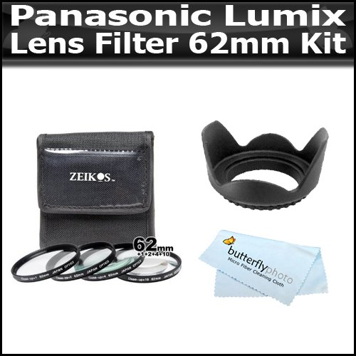 Lens Filter Kit For Panasonic Lumix Dmc-Gh2 16.05 Mp Live Digital Camera (W/14-140Mm Lens) Includes 62Mm Hard Rubber Lens Hood + 62 Mm Close Up Set +1 +2 +4 +10 + Bp Microfiber Cleaning Cloth