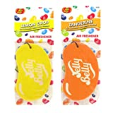 JELLY BELLY TWIN PACK 2D BEAN SWEETS SCENT CAR AIR FRESHENER - LEMON DROP + TANGERINE