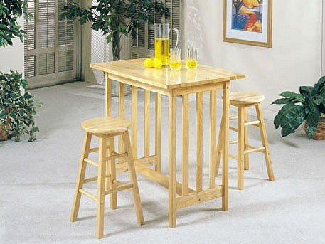 Cheap 3pc Mission Style Wood Breakfast Bar Table & 2 Stools Set (ACME2412N)