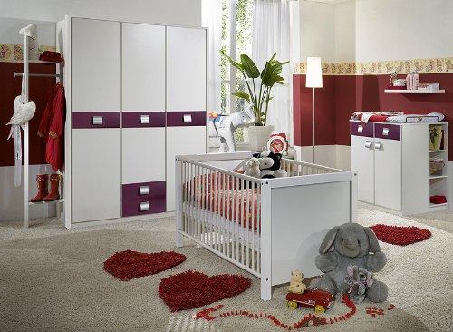 Babyzimmer »EMMAÂ« 6-tlg in alpinweiß – brombeer günstig kaufen