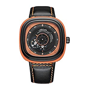 JEDIR Men's ML3012G/BKOE-1N11 Fashion Business Casual Waterproof Leather and Mechanical Movement Watch