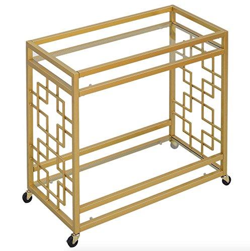 Retro Gold Tone Bar Cart Metal Serving Tray Table Coffee 2-Shelf Glass Kitchen Sofa Side Hall Entry 2