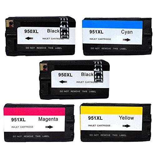 Oyat® Premium 5er Set Kompatible Tintenpatronen Als Ersatz für Hp 950 XL + HP 951 XL mit Chip und Füllstandsanzeige für hp officejet pro 8620 patronen (Schwarz , Cyan , Magenta , Yellow) 5x950- 951-hp