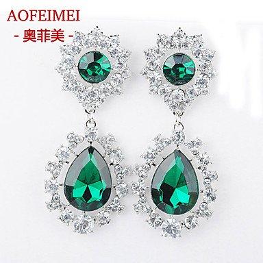Damen Ohrring Legierung Stud Earrings-Green günstig bestellen