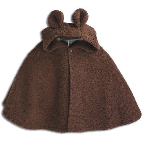 【くま】着ぐるみ フード付き マント 【70cm から 90cm】 ベビー ブラウン ケープ 防寒
