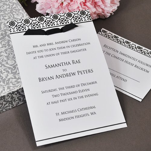 Damask Invitations Kit in Black and White