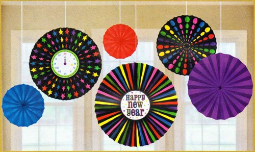 New Year's Hanging Paper Fans - Set of 6
