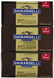 Ghirardelli Bitter Sweet Baking Bar, 60% Cacao-4 OZ