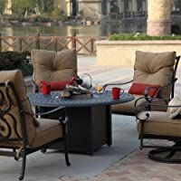 Darlee Santa Anita 4-person Cast Aluminum Deep Seating Patio Fire Pit Conversation Set - Antique Bronze by Darlee